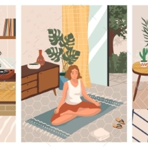 Stay at Home Concept Vector Illustration