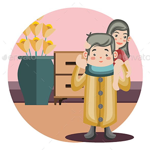 Daddy go Home - Vector Illustration