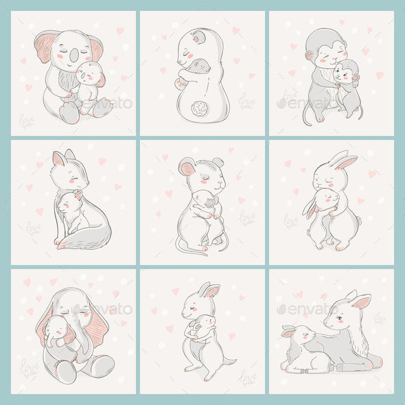 Animal Set Family Character. - Animals Characters