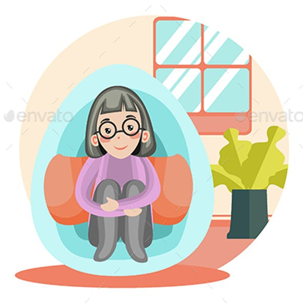 Happy & Enjoy alone - Vector Illustration