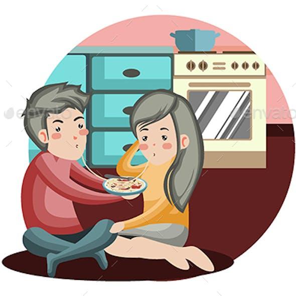 Spaghetti Romance - Vector Illustration