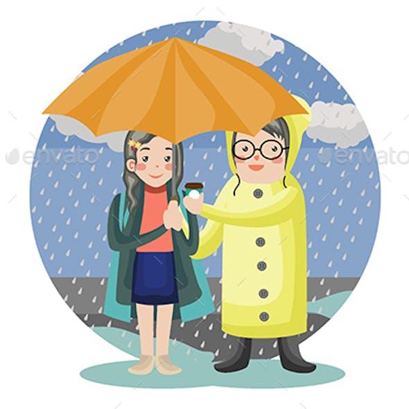 Rainy Romance - Vector Illustration