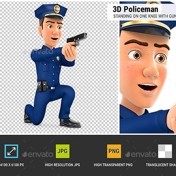 3D Policeman Standing on One Knee with Gun