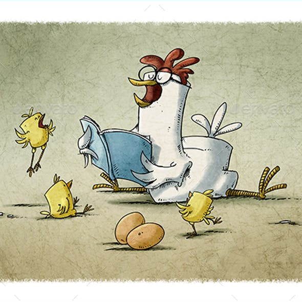 Hen Reading a Story to Three Yellow Chicks.