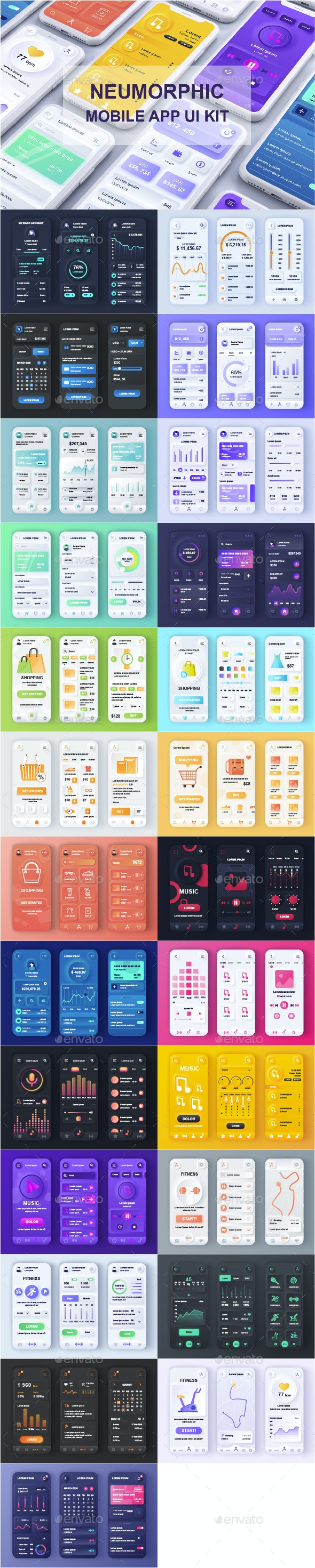 Neumorphic Mobile App UI Kit - User Interfaces Web Elements