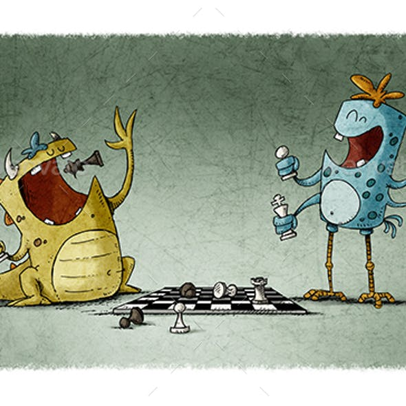 Monsters Playing Chess and Eat the Pieces.