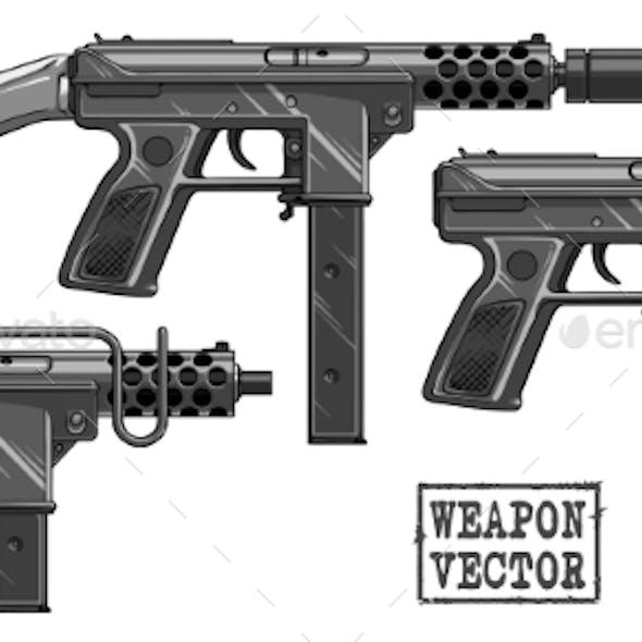 Graphic Silhouette Submachine Gun with Ammo Clip