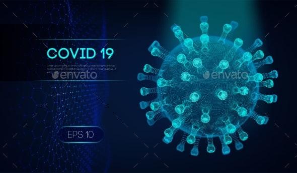 Covid-19 3D Rendering of Virus - Health/Medicine Conceptual