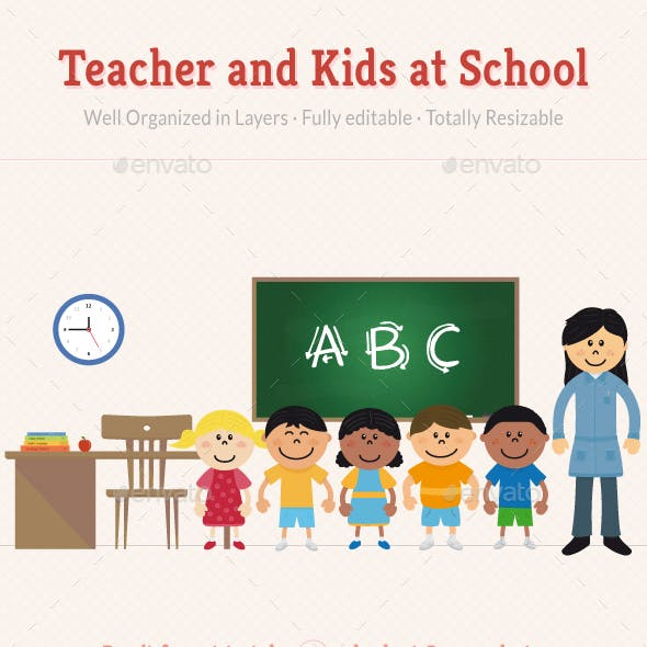 Teacher and Kids at School
