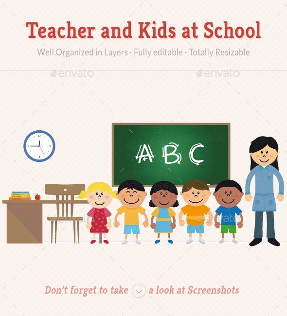Teacher and Kids at School - People Characters