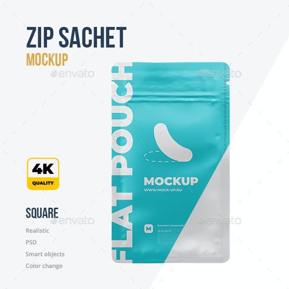 Flat Zip Sachet Mockup