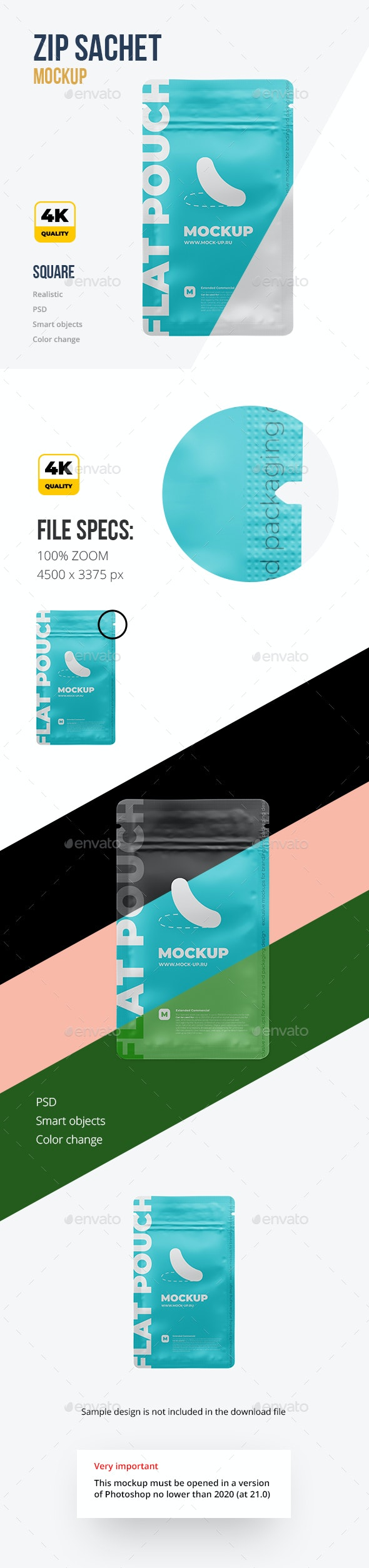 Flat Zip Sachet Mockup - Beauty Packaging