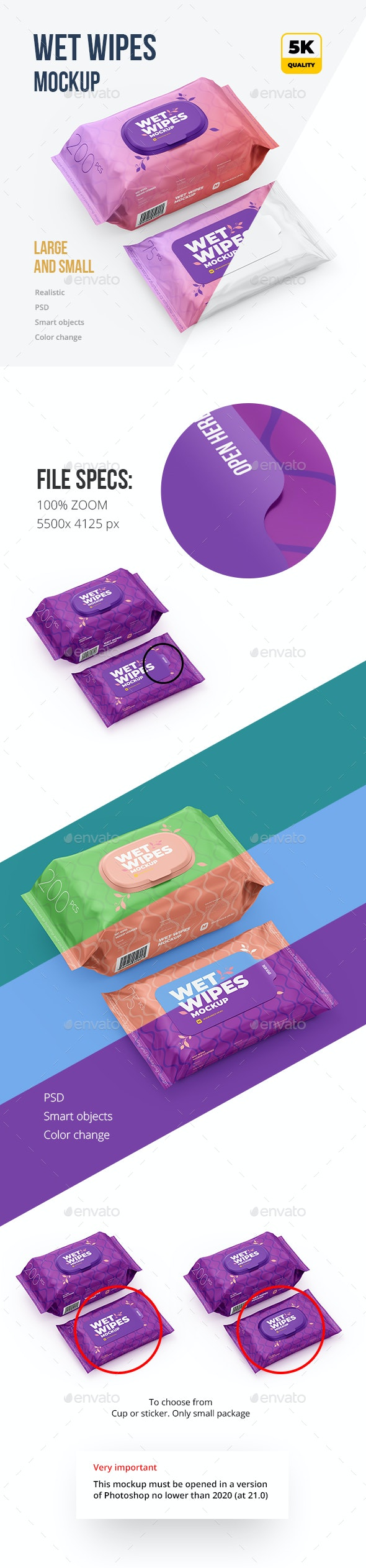 Wet Wipes Mockup, large and small - Beauty Packaging