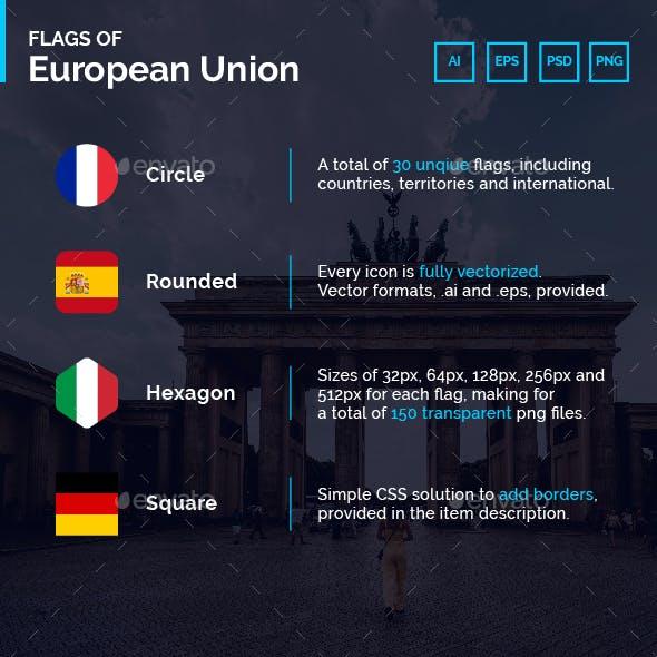 Flags of European Union + UK - Flag Icons