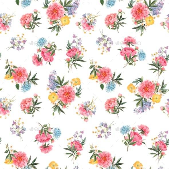 Beautiful Seamless Floral Pattern with Watercolor