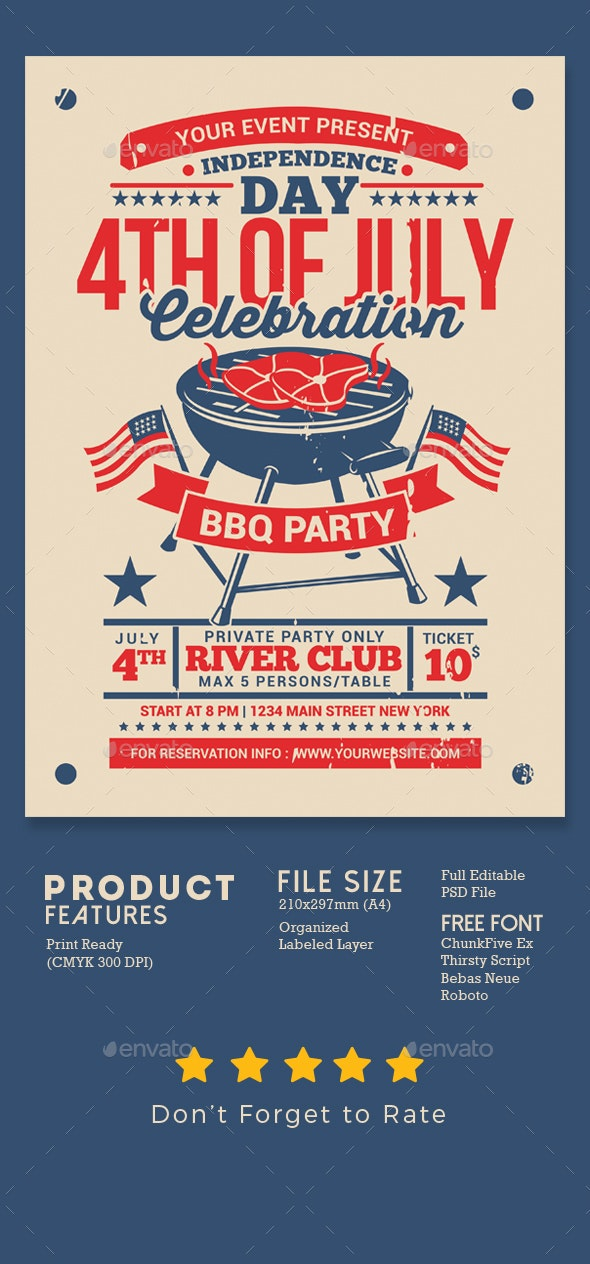 4th of July BBQ Party Celebration - Events Flyers