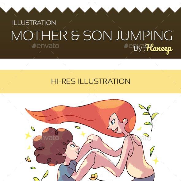 Mother & Son Jumping Illustration