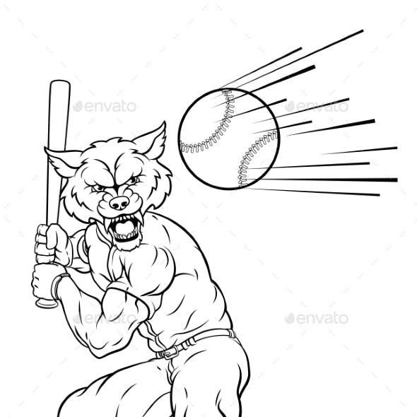 Wolf Baseball Player Mascot Swinging Bat at Ball