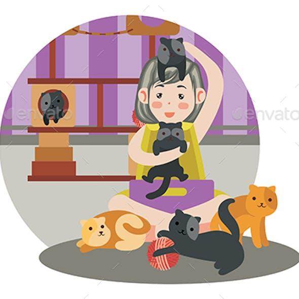 Cats Playground - Vector Illustration