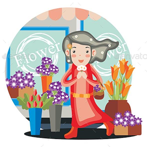 Flower Store - Vector Illustration