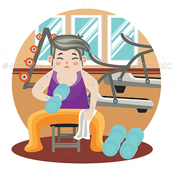 Work out at the gym - Vector Illustration