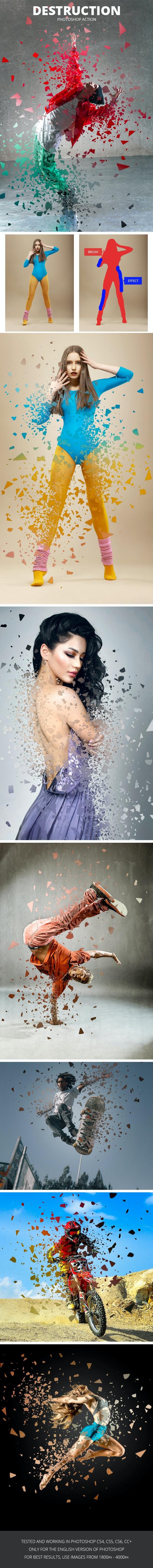 Destruction Photoshop Action - Photo Effects Actions