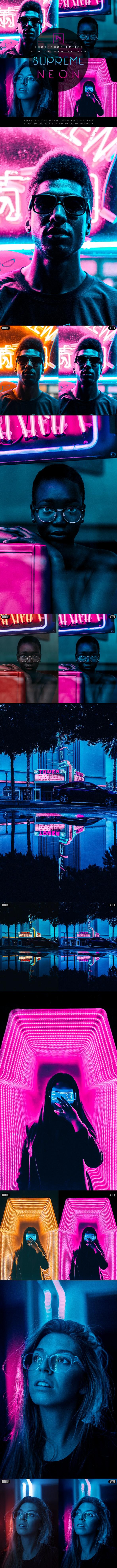 Supreme Neon - Premium Photoshop Action - Photo Effects Actions