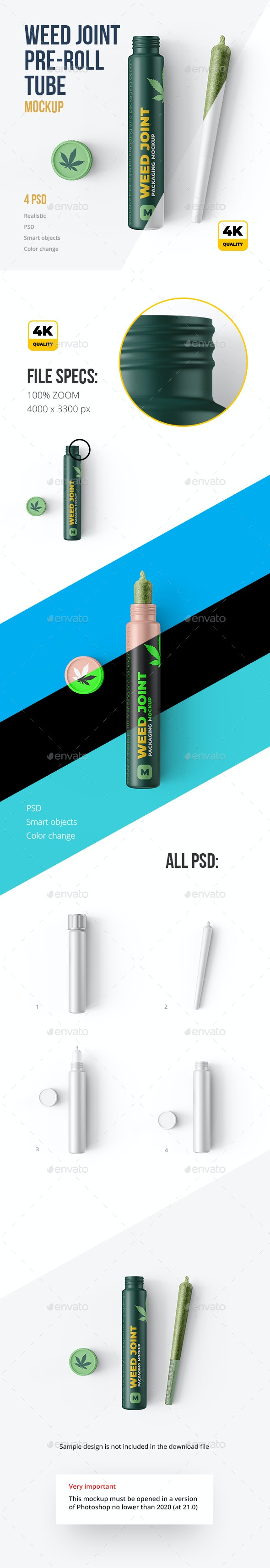 Weed Joint (pre-roll) Tubes 4 PSD - Packaging Product Mock-Ups