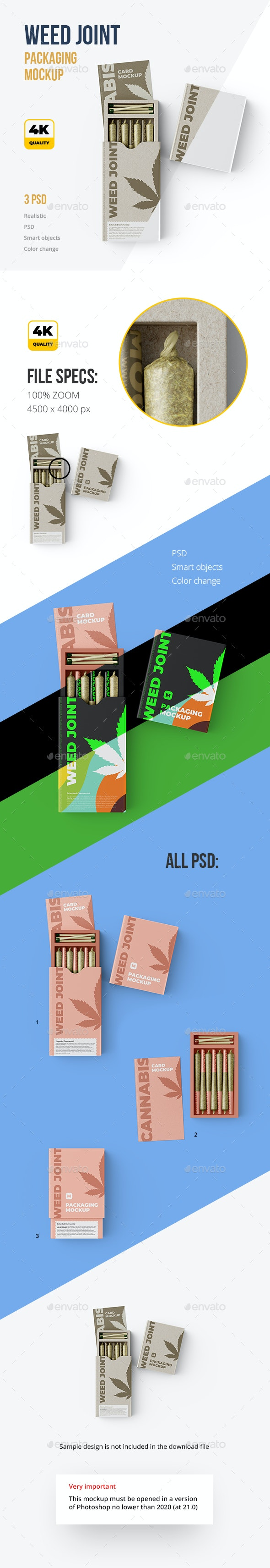 Weed Joint Packaging Mockup. 3 psd - Packaging Product Mock-Ups