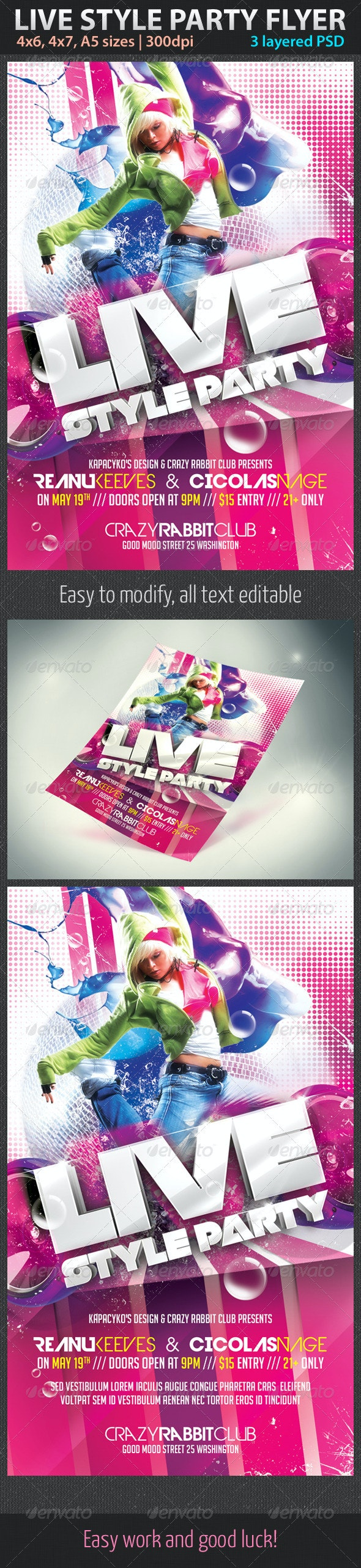 Live Style Party Flyer - Clubs & Parties Events