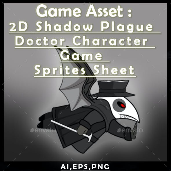 Game Asset :2D Shadow Plague Doctor Character Game Sprites Sheet