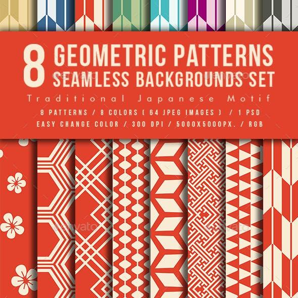 Japanese Geometric Patterns Seamless Backgrounds Set