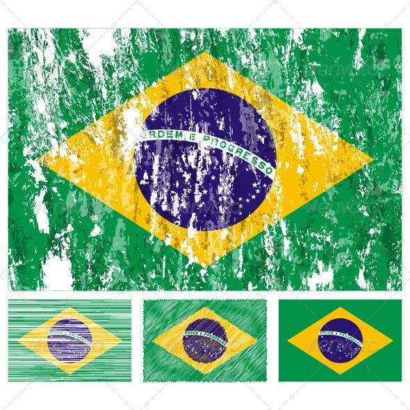 Brazil grunge flag set