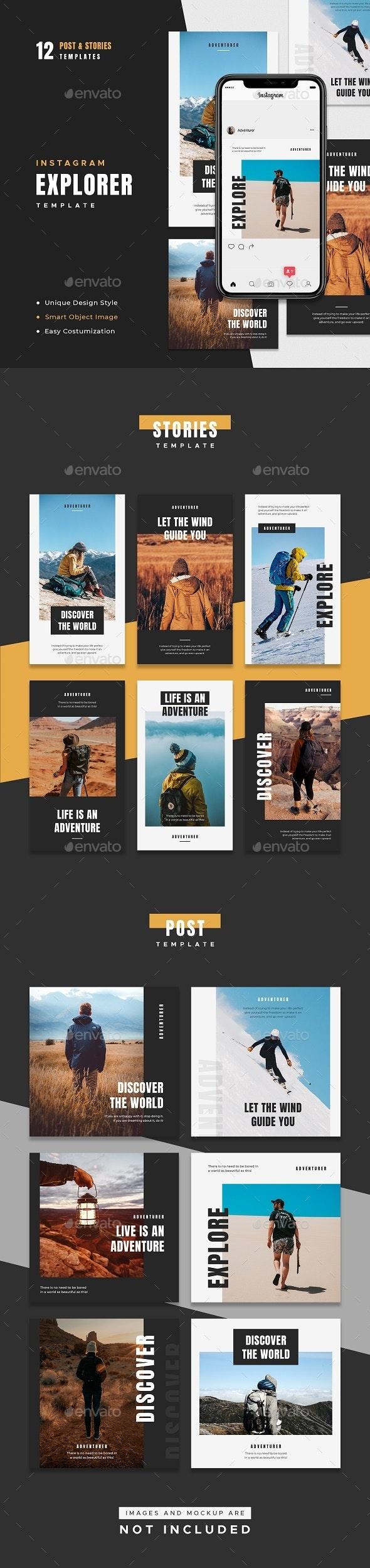 Explorer Instagram Template - Social Media Web Elements
