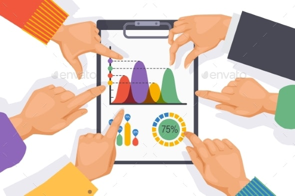 Teamwork Table Elements, Employee Hand on Graph - Concepts Business