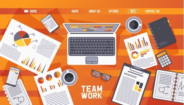 Webpage Teamwork Wooden Table Elements Vector - Computers Technology