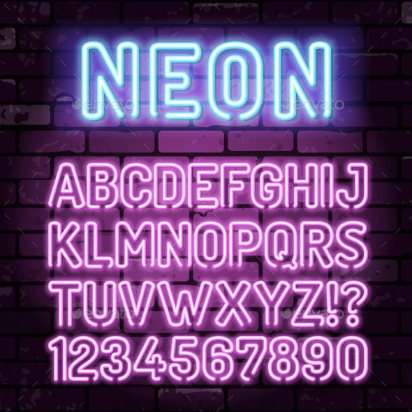 Purple Neon Alphabet on Brick Wall