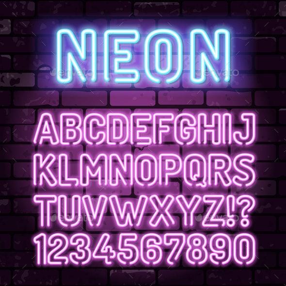 Purple Neon Alphabet on Brick Wall - Decorative Symbols Decorative