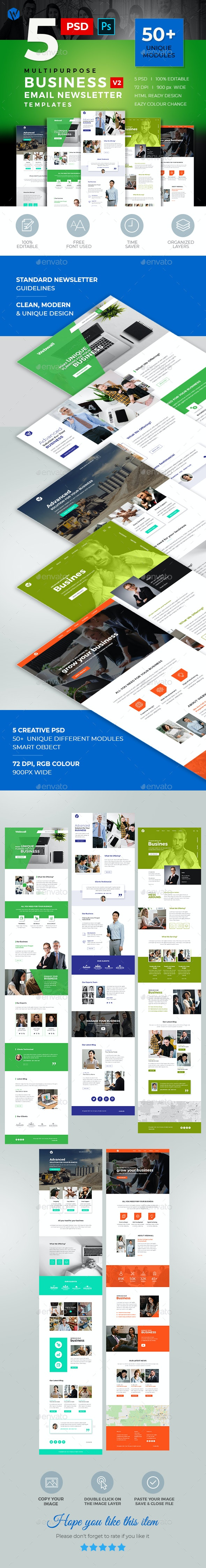 5 Business Email Newsletter PSD Templates v2 - E-newsletters Web Elements