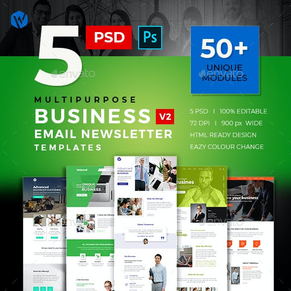 5 Business Email Newsletter PSD Templates v2