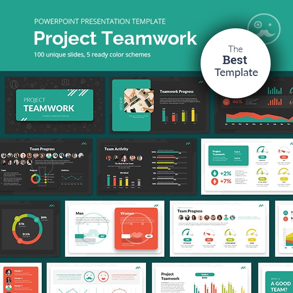Project Teamwork PowerPoint Presentation Template - Business PowerPoint Templates