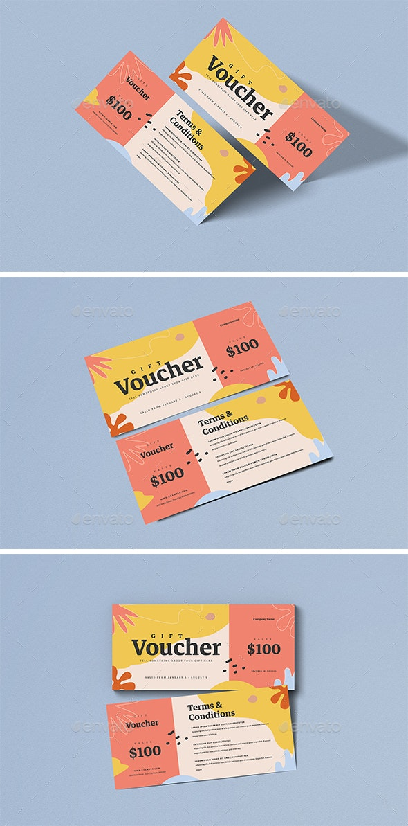 Organic Fashion Gift Voucher - Cards & Invites Print Templates