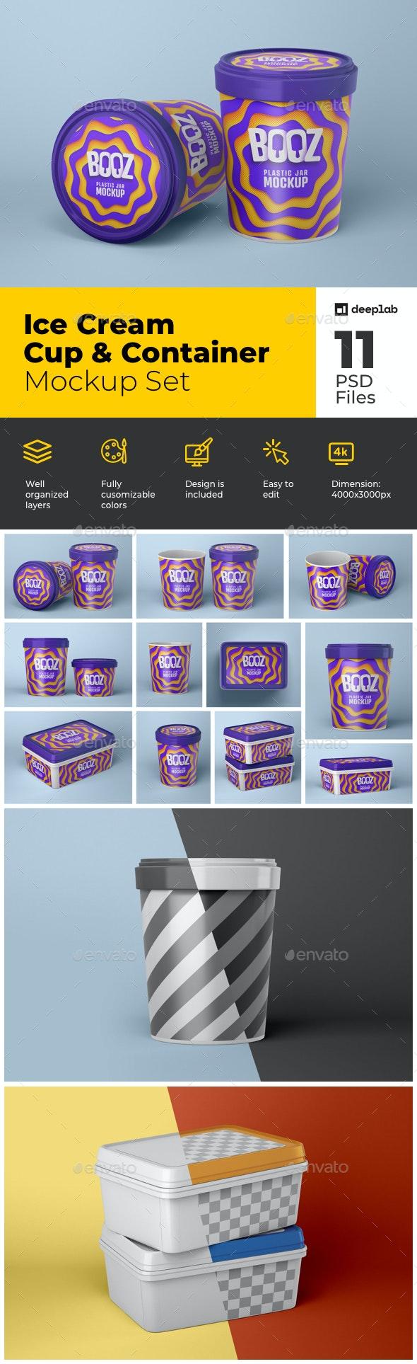 Ice Cream Cup Mockup | Ice Cream Box - Product Mock-Ups Graphics
