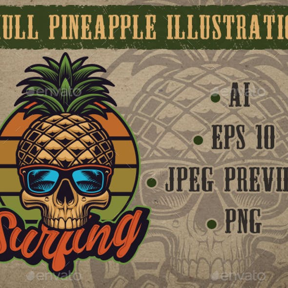 Retro Illustration Pineapple Skull