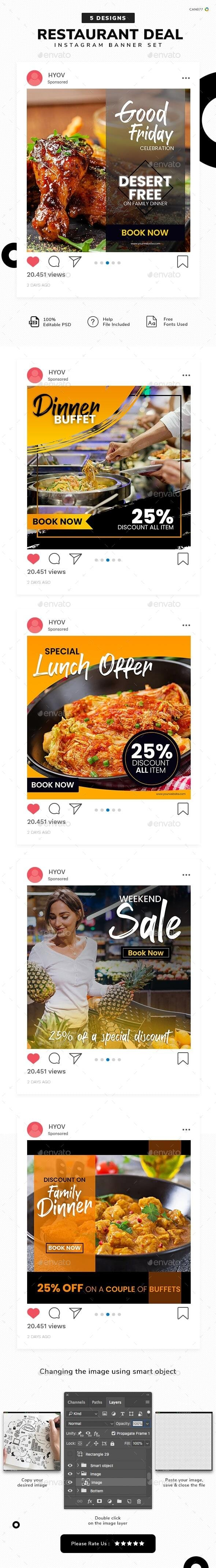 Restaurant Deals Instagram Post Templates - 05 Designs - Miscellaneous Social Media