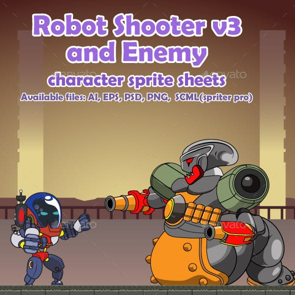 Robot Character V3 and Enemy