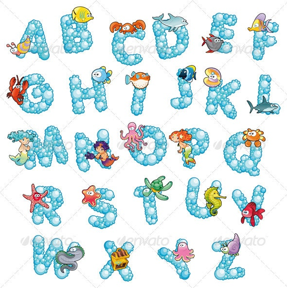 Alphabet with fish and bubbles. - Animals Characters