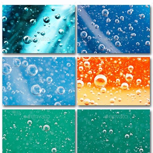 Oxygen bubbles in color liquid.