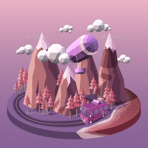 Vector Illustration of a Bus and Airship - Travel Conceptual