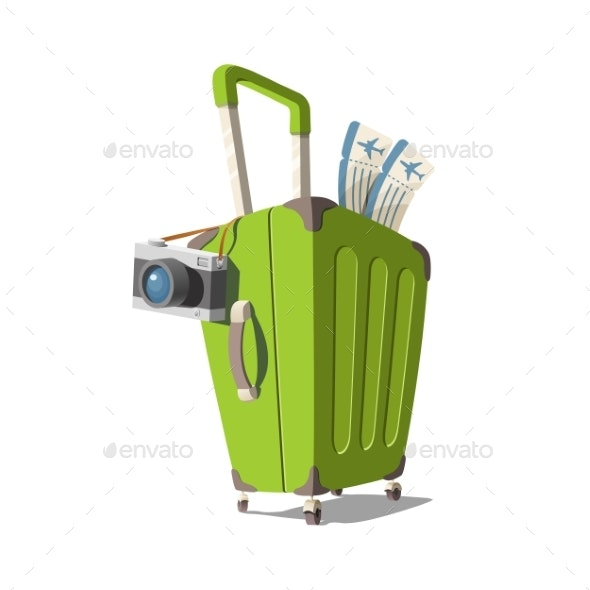 Vector Illustration of a Suitcase with a Camera - Travel Conceptual